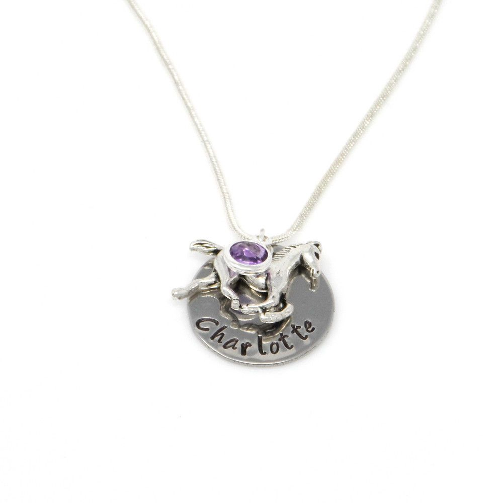 Childs Personalised Name Necklace with Horse and Birthstone - Gift Boxed & Free Delivery UK