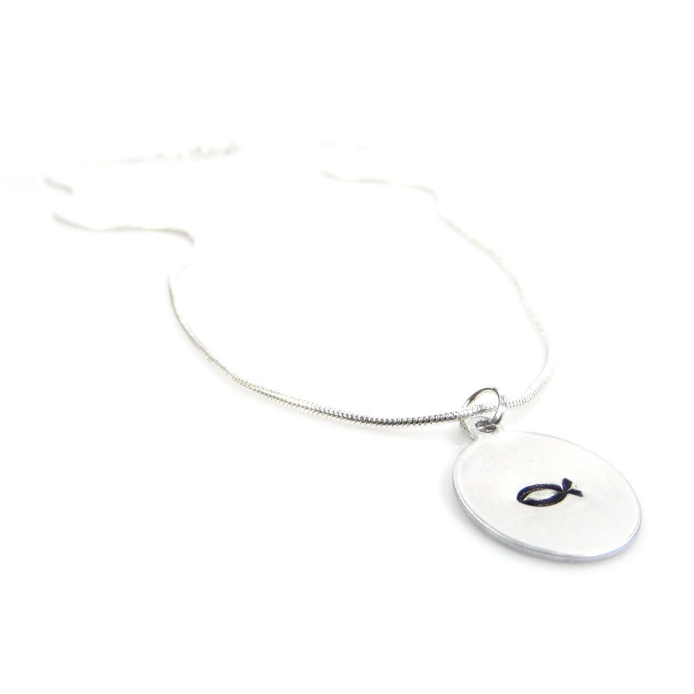 Hand Stamped Necklace with a Christian Fish Faith Circular Pendant – Gift Boxed & Free Delivery UK