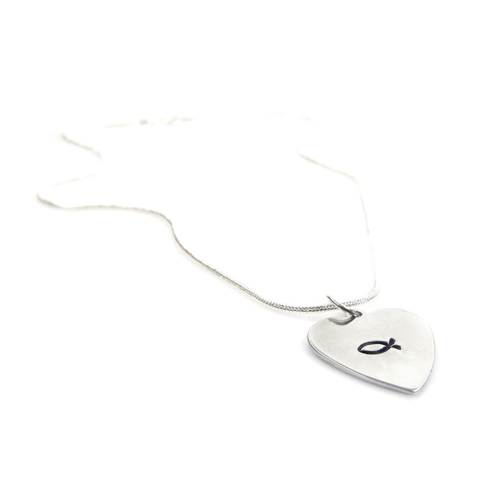 Hand Stamped Necklace with a Christian Fish Faith Heart Pendant – Gift Boxed & Free Delivery UK