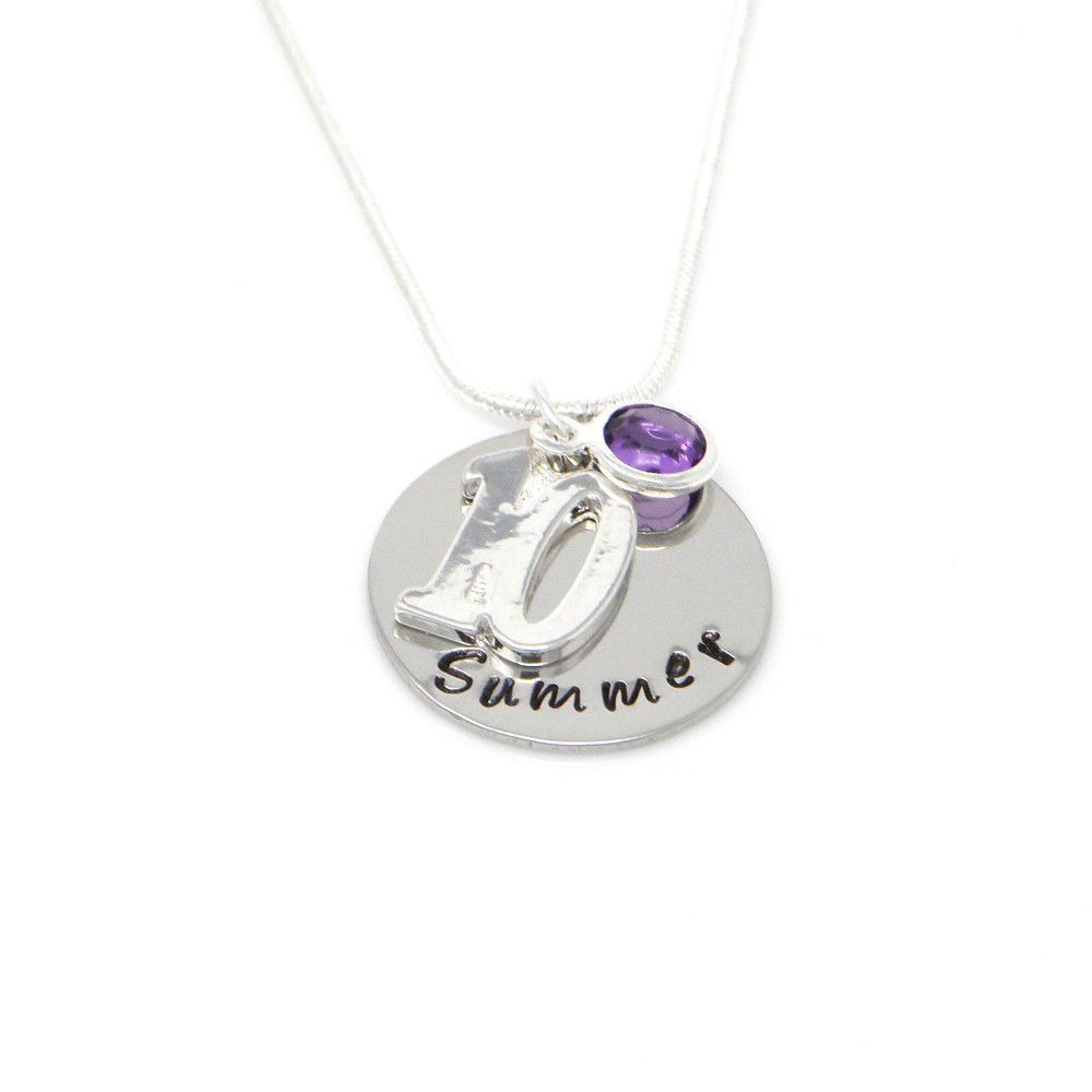 Personalised 10th Birthday Birthstone Necklace