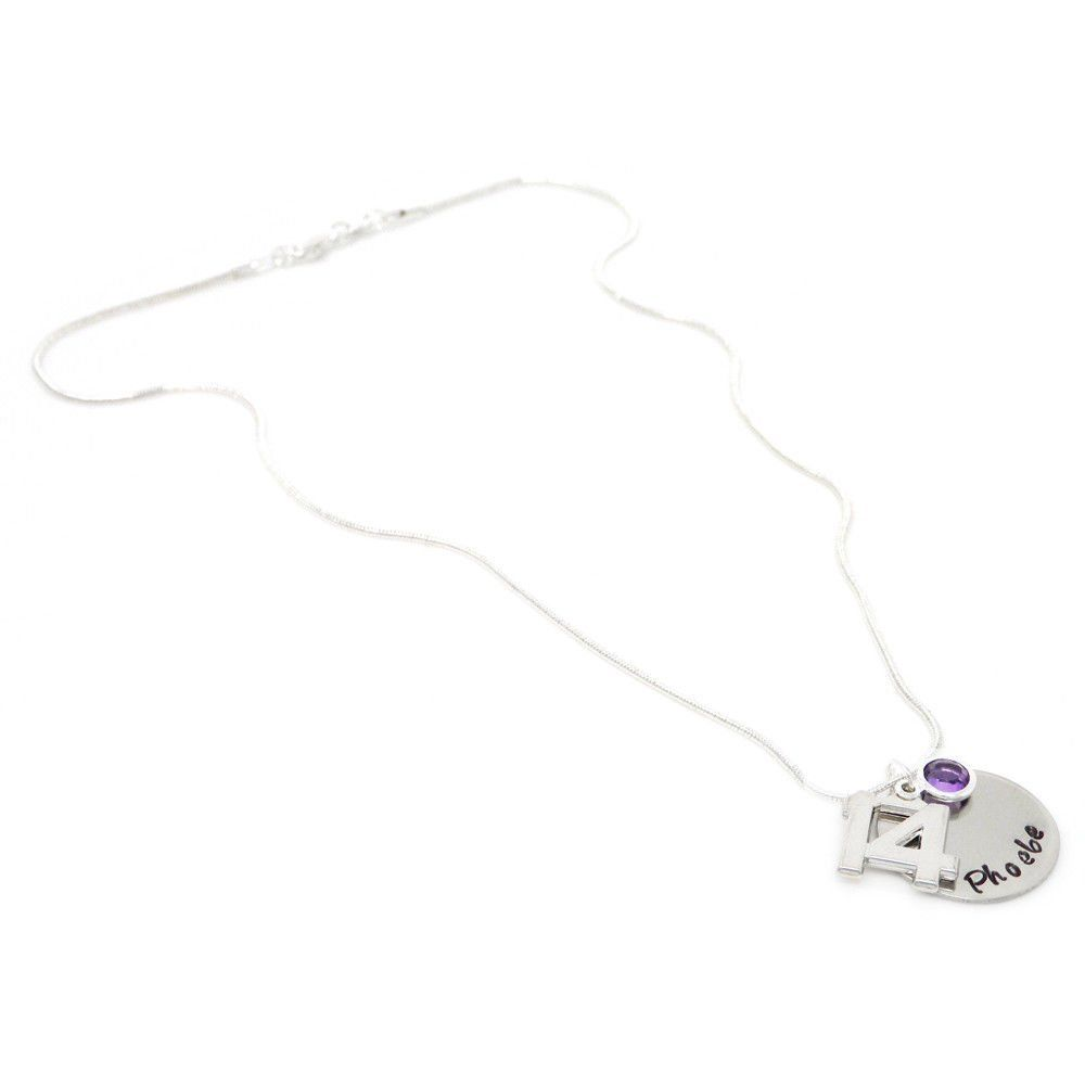Personalised 14th Birthday Birthstone Necklace - Gift Boxed & Free Delivery UK