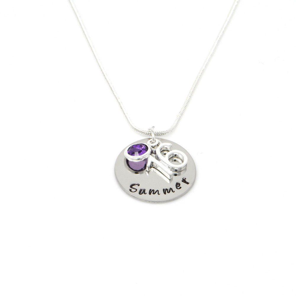 Personalised 16th Birthday Birthstone Necklace