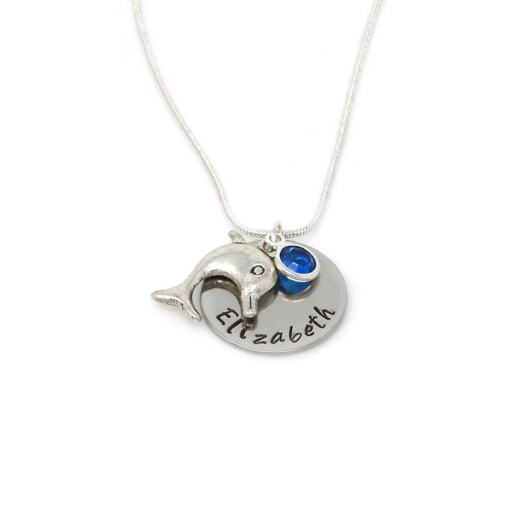 Personalised Dolphin Pendant Necklace with Birthstone Charm – Gift Boxed & Free Delivery UK